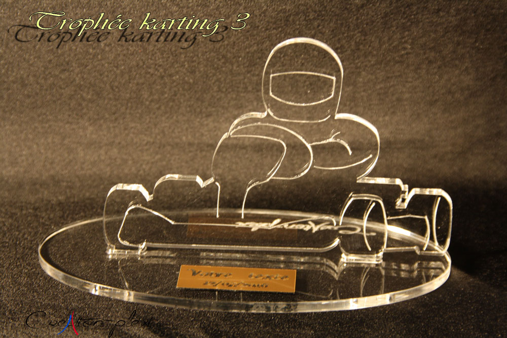 trophée karting 3 en plexiglas