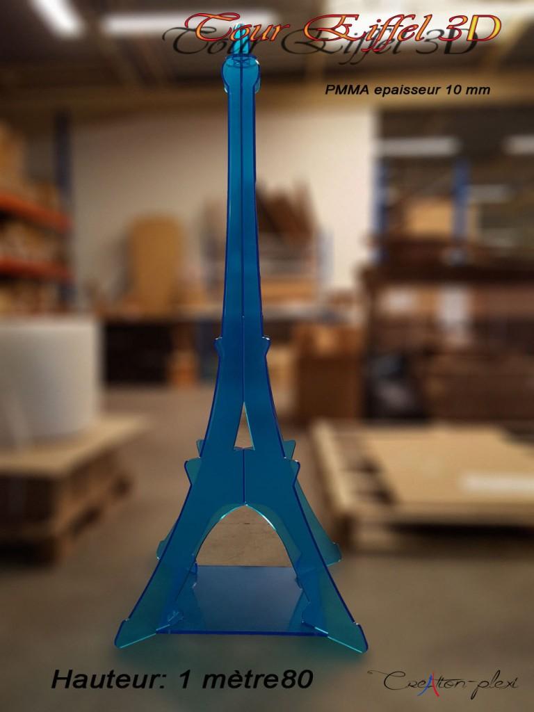 tour Eiffel 3D hauteur 180cm