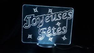 lampe joyeuse fête à led et plexiglas