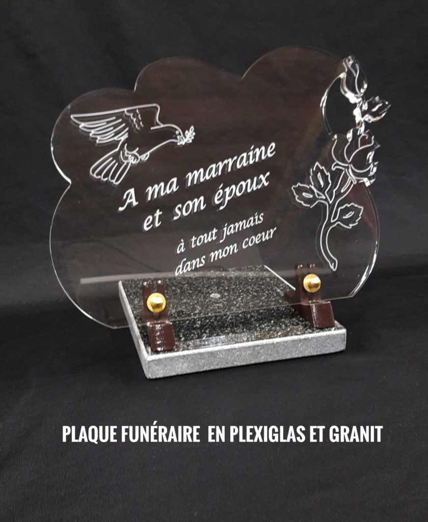 plaque funéraire plexiglas