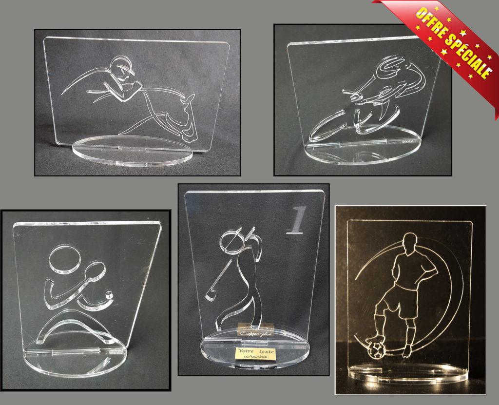 trophées plexiglas en promo