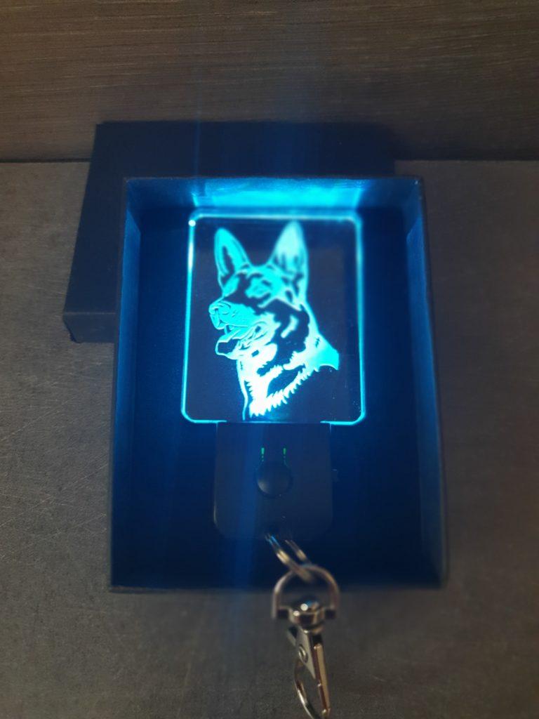 Porte-clés LED Berger Allemand chien