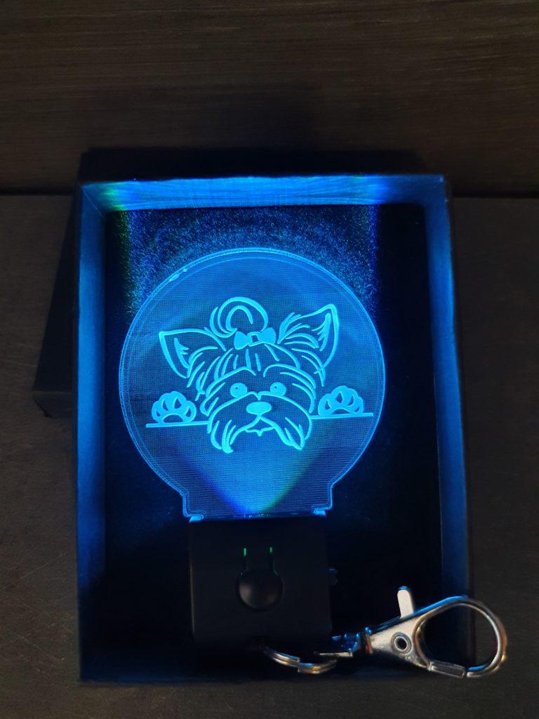 Porte-clés LED chien allumé