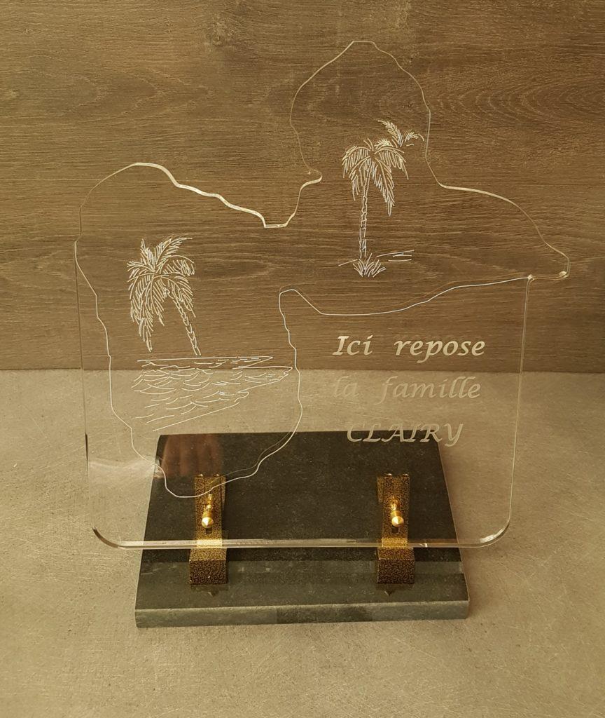 plaque funéraire plexiglas La Reunion