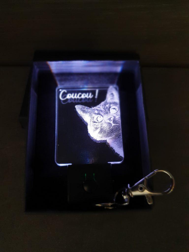 porte-clés led chat coucou