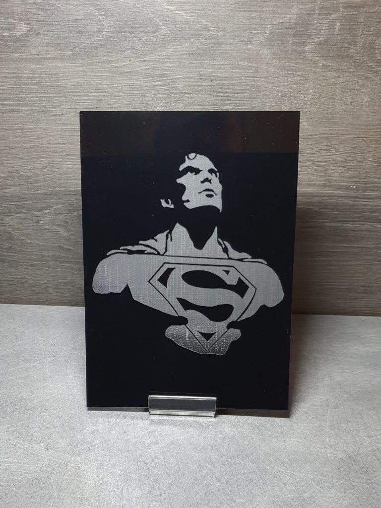 superman tableau noir en plexiglas