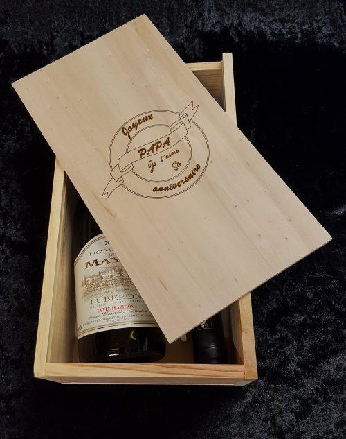 gravure coffret à vin anniversaire
