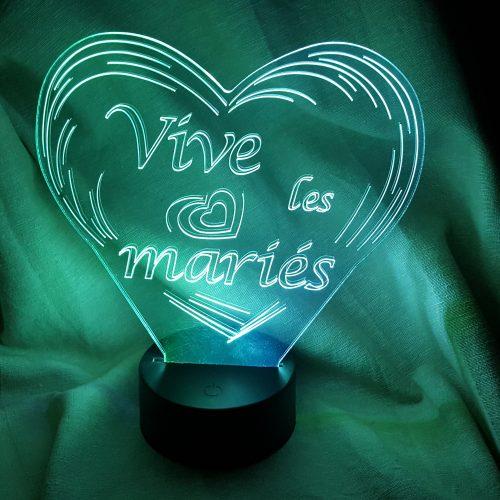 lampe veilleuse à LED coeur mariage