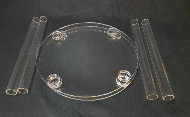 présentoir à gateaux colonne en plexiglas
