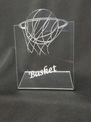 trophée plié basket plexiglas
