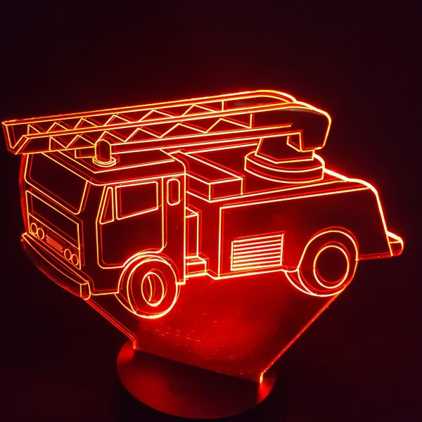 veilleuse camion pompier plexiglas et led